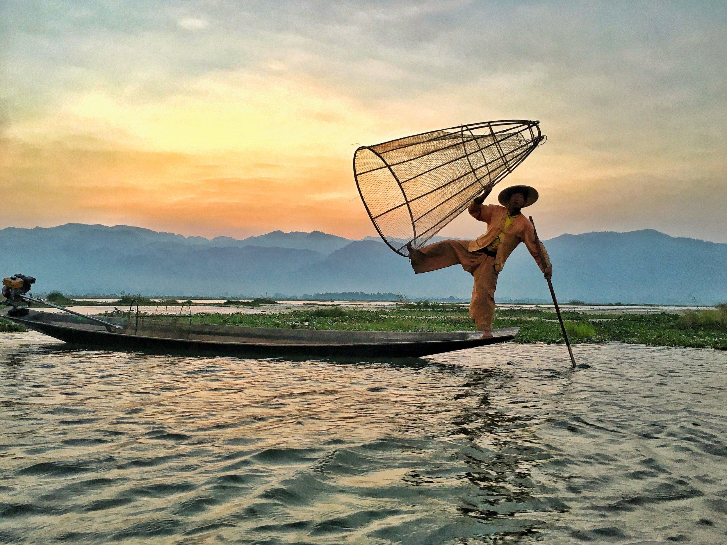 visit Inle Lake's world-famous fishermen