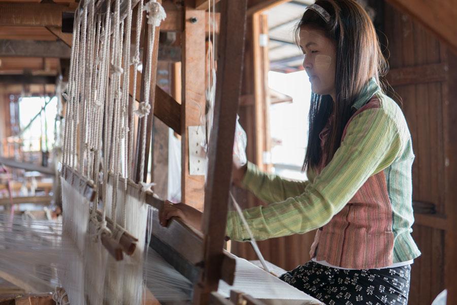 Inle Lake Lotus Weaving