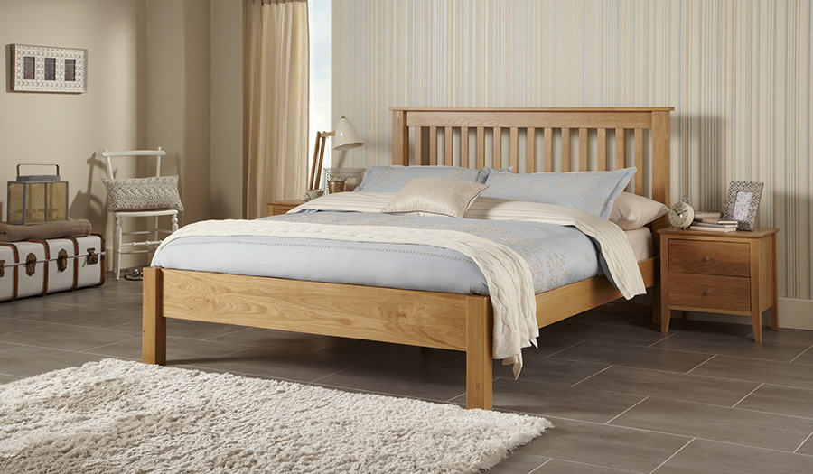 Bedstead - A bedstead is a frame in which the mattress sits, and usually has flat slats or concave slats as a base. Frames can have either high or low foot ends, and low foot ends are popular for being less obtrusive whilst sleeping.Centre beams and legs are essential under most bedsteads to give extra durability.Budget frames are most commonly made of pine and metal. The middle and top of the range are made of hardwoods such as oak, and wrought iron.