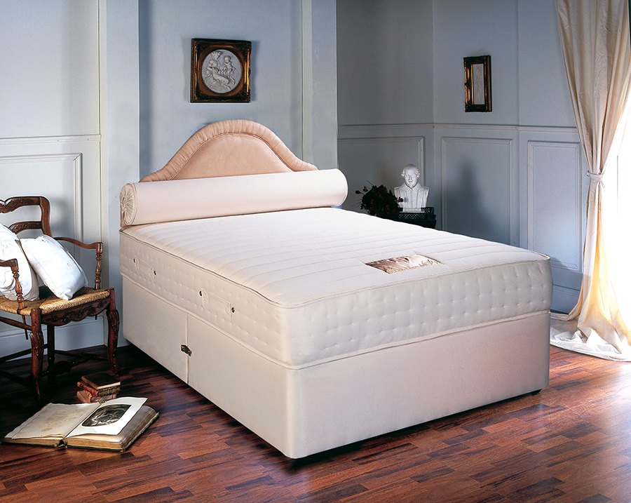 Divans - This is a bed that consists of a mattress on top of a box base made from timber, and covered in a fabric. Most bases are in two halves that are joined on delivery, and take up less room than bedsteads as they sit flush under the mattress.Divans can have a variety of in-built storage solutions, such as 2 drawers, 4 drawers, a large end drawer, 2 half and 2 large continental drawers, or a solid base with no drawer.N.B. Bases with castors are usually 16