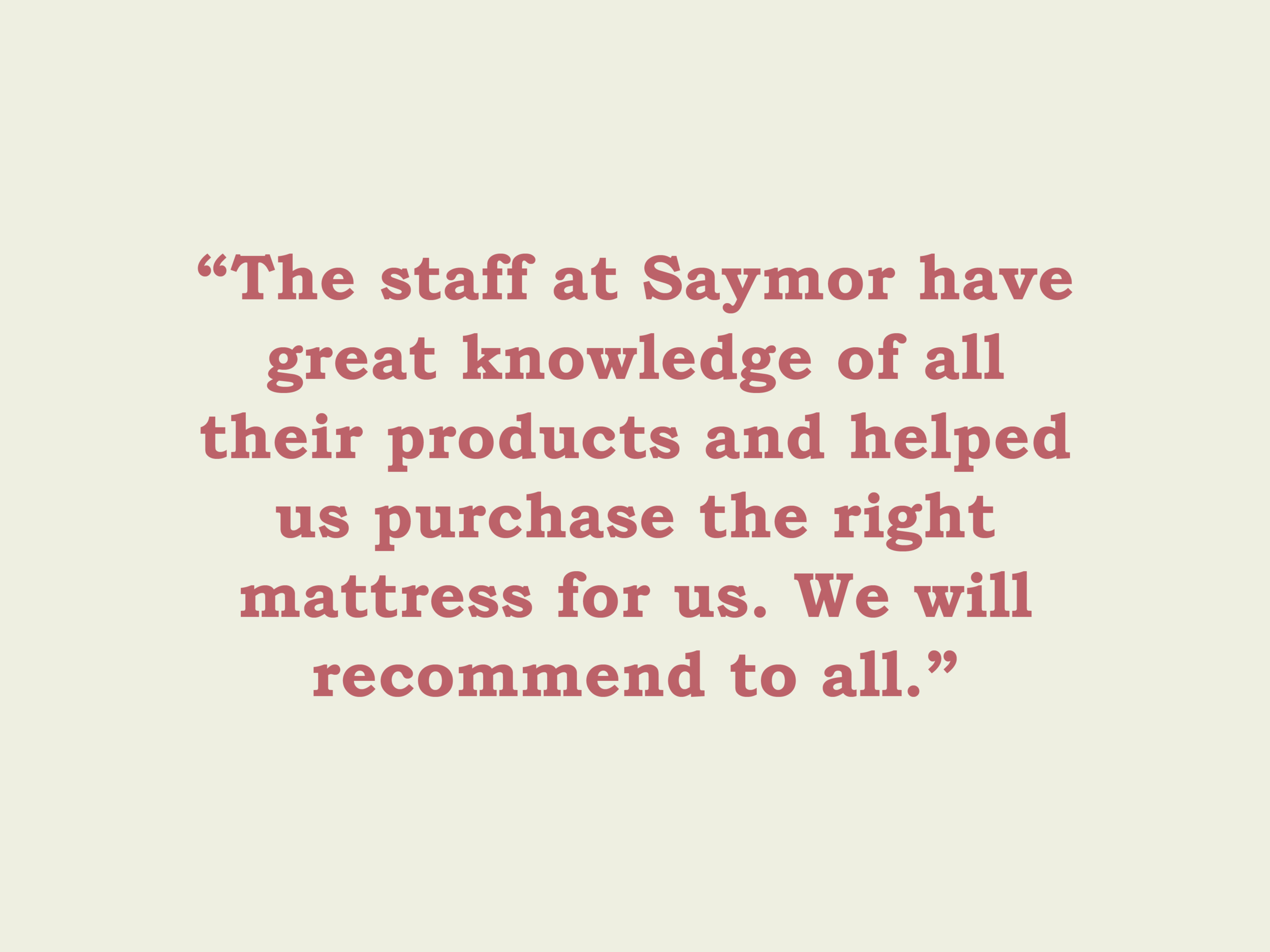 One of our lovely reviews