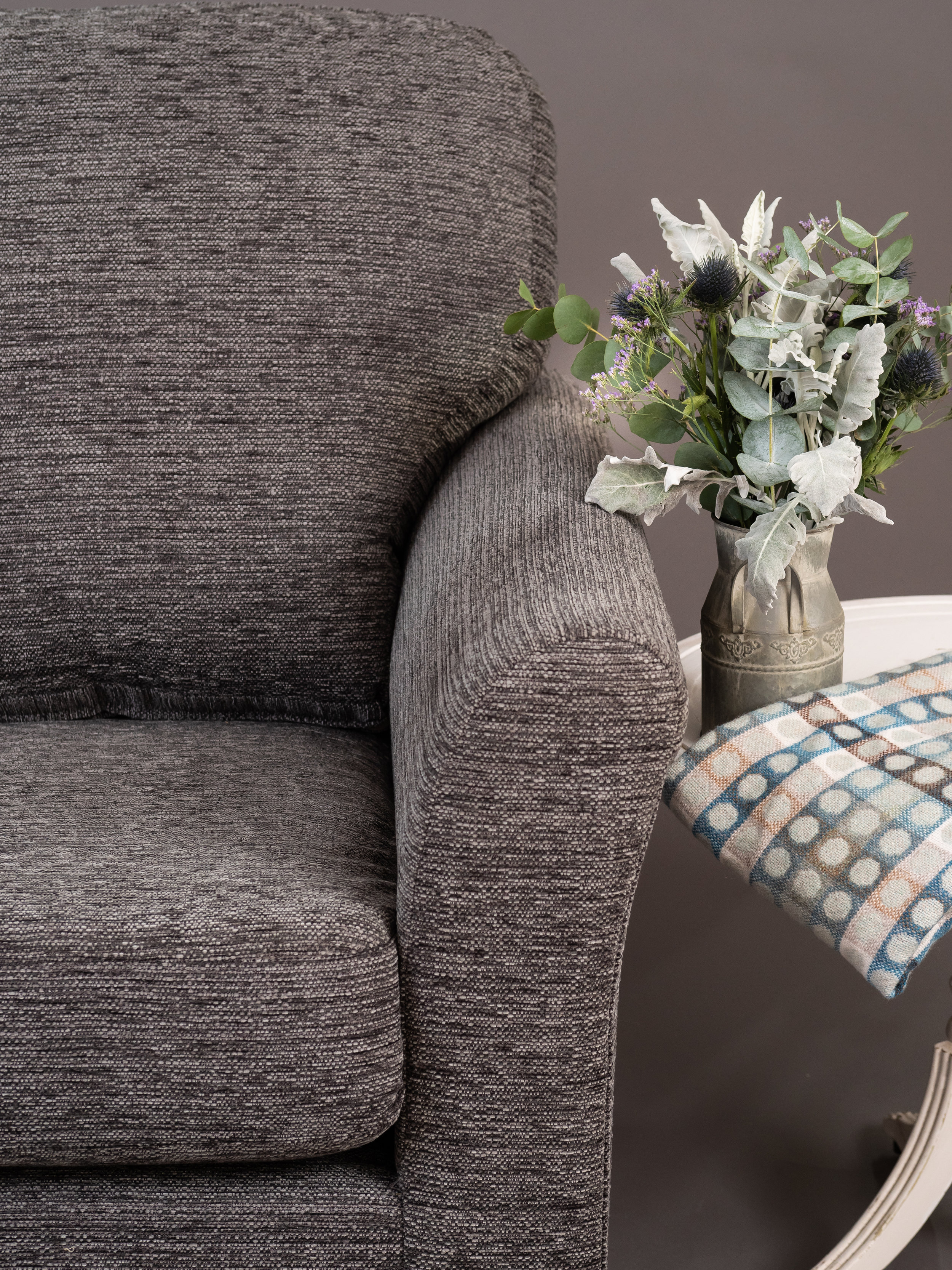 Saymor Furnishers Debbie sofa close up with vase of flowers