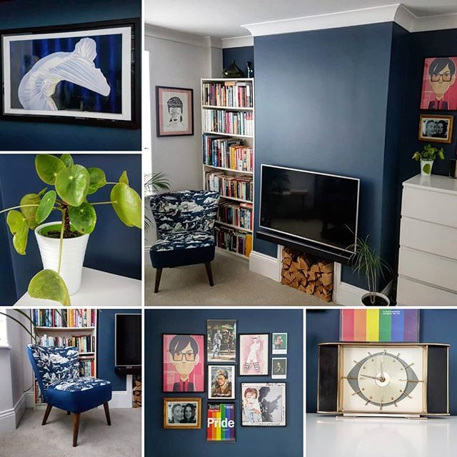 Decoration of lounge in @farrowandball skiffkey blue and wevet. Thanks @cjsartist for the print of your brilliant painting, it's found a home finally! . . #interiordesign #interiors #paintinganddecorating #interiorstyling #darkblue #homedecor #womenintrades #velvetchair #newbury #stanleychow #lgbtq #fridakahlo #plants #art #franandlou #farrowandball #stiffkeyblue #wevet