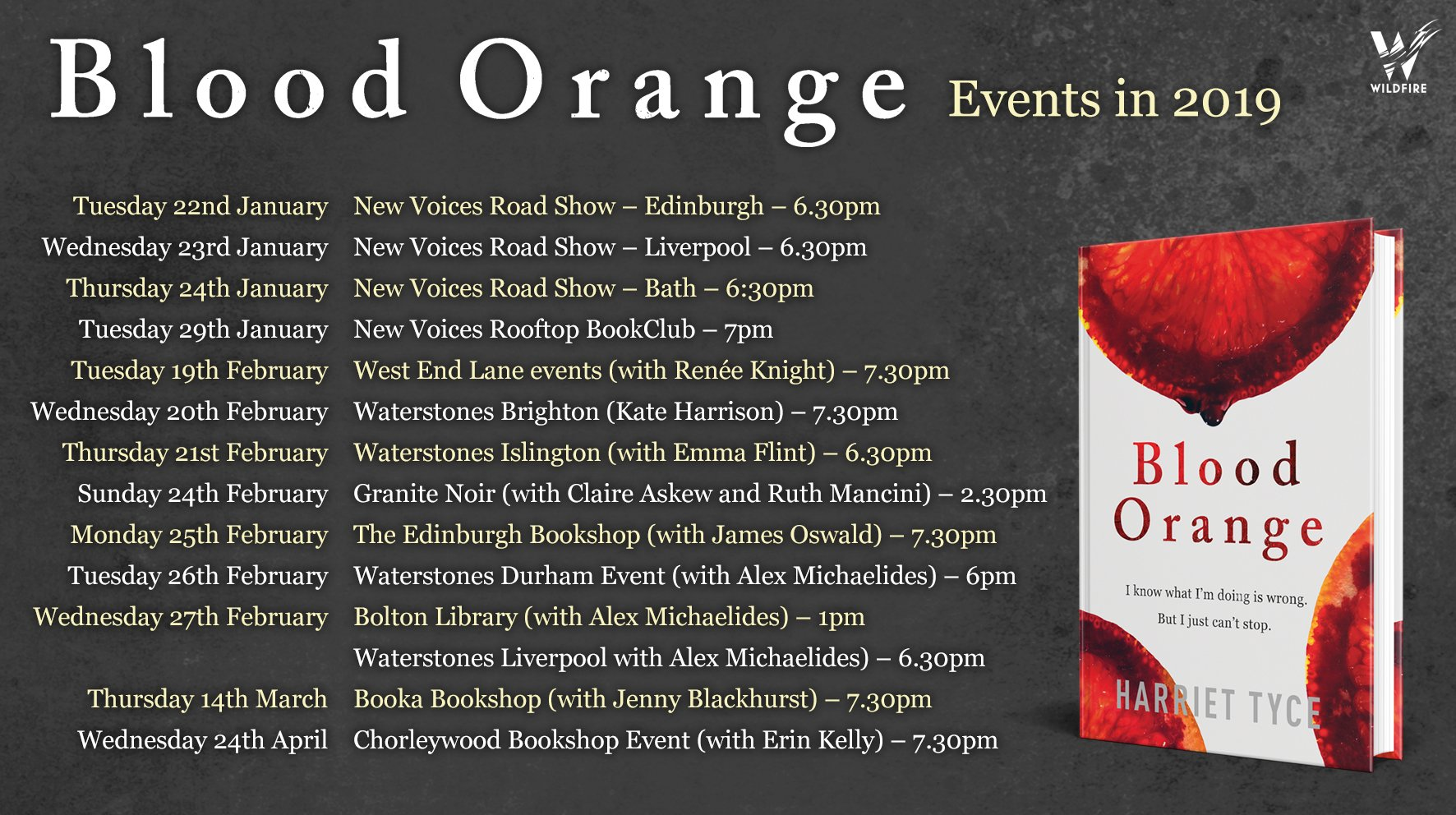 Tickets for many of these events are now available – click on the Events button on the menu above to find booking links.