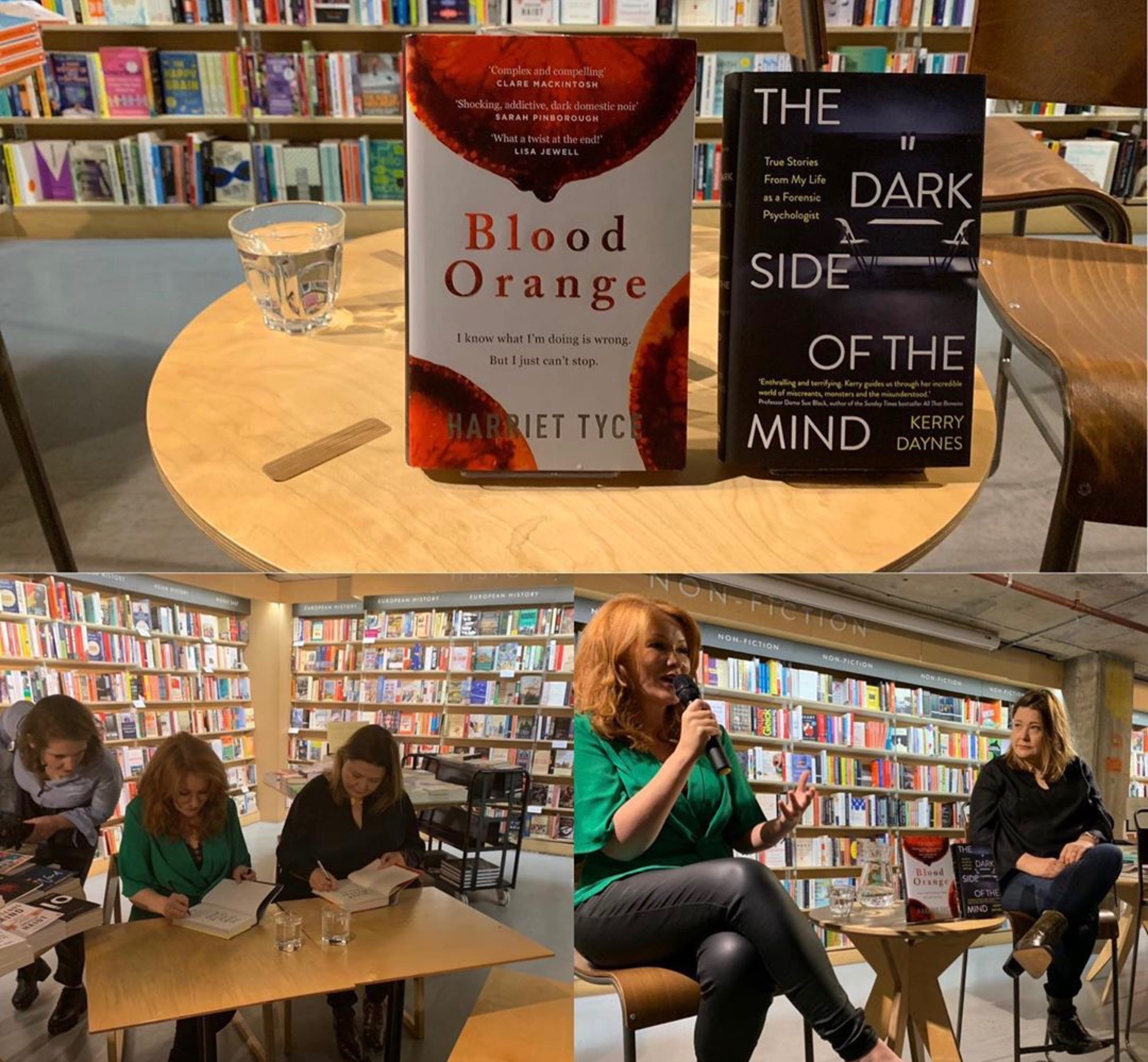 Kerry Daynes and Harriet Tyce at Waterstones Tottenham Court Road (photographs by Jemma Arvanitis).