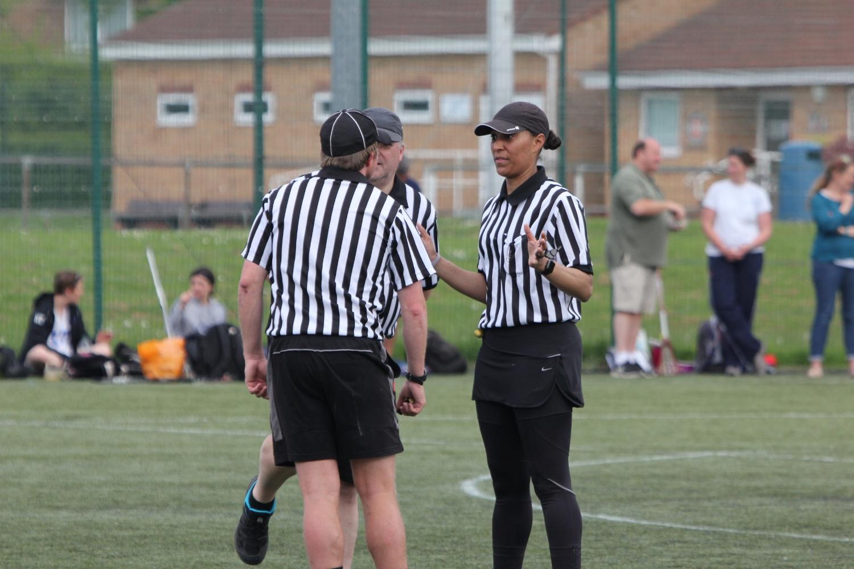 Umpires huddling