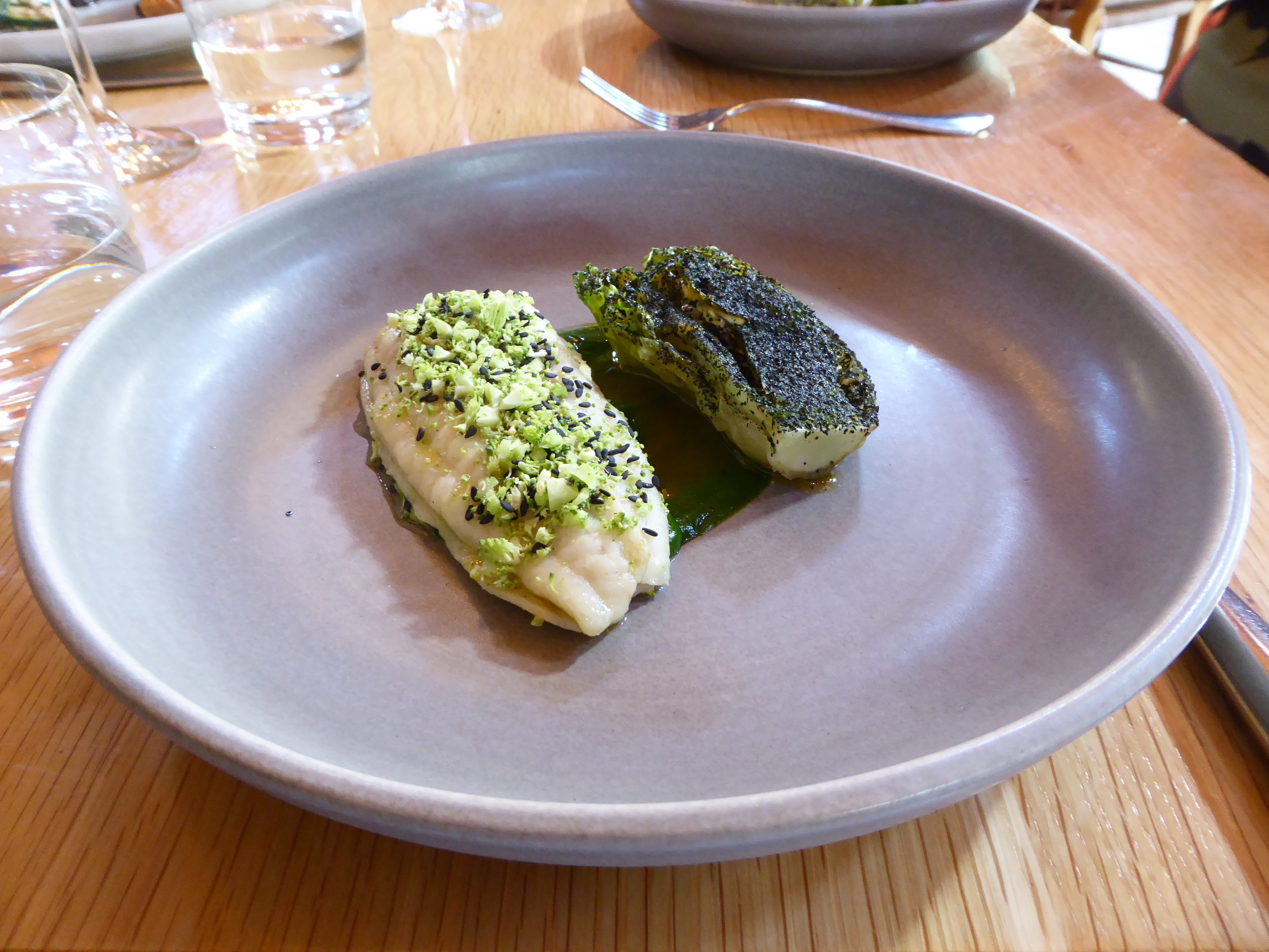 Cape Kidnappers flounder, grilled cos & shellfish sauce