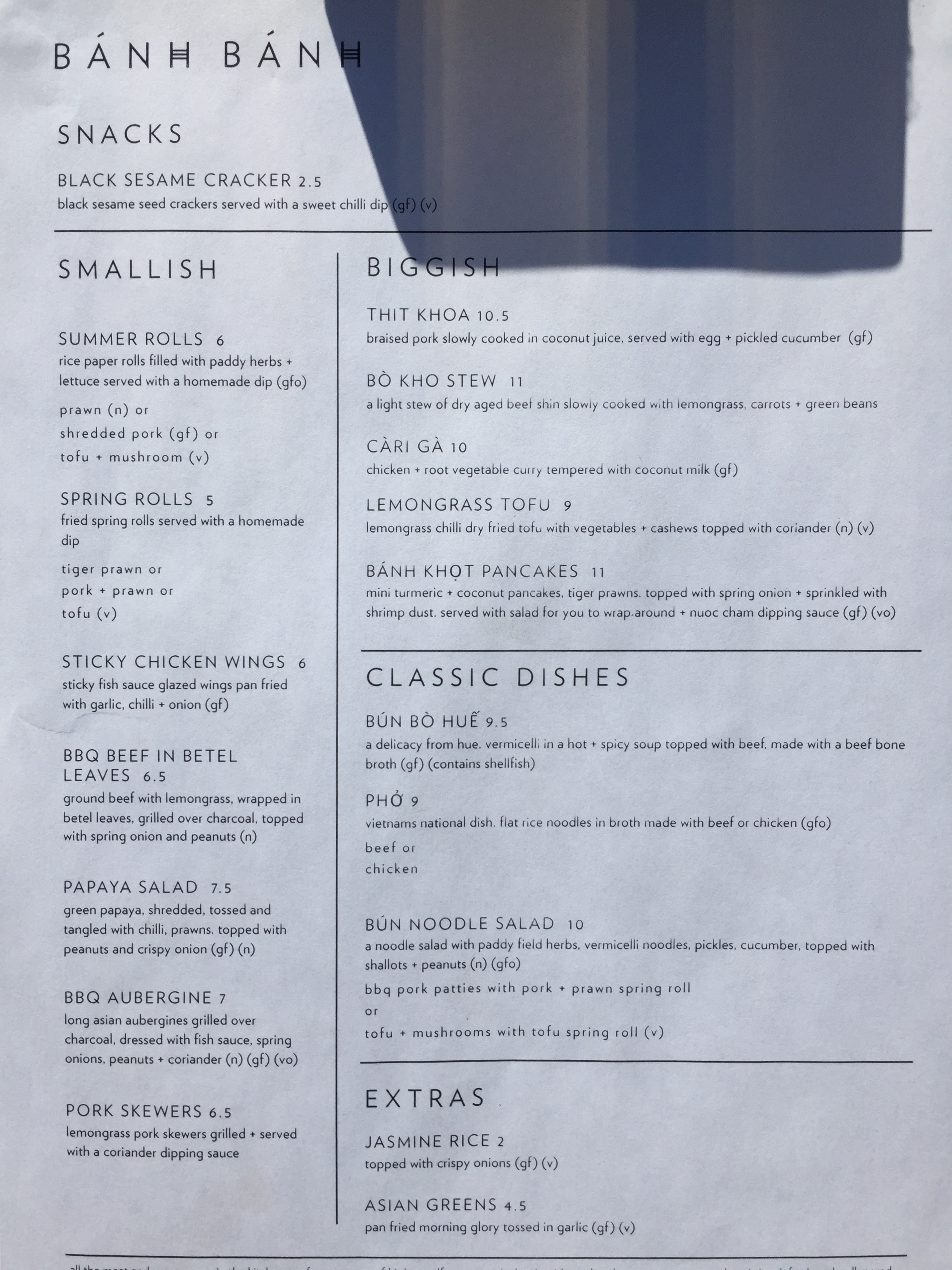 Current menu - we were told that desserts will still be added here