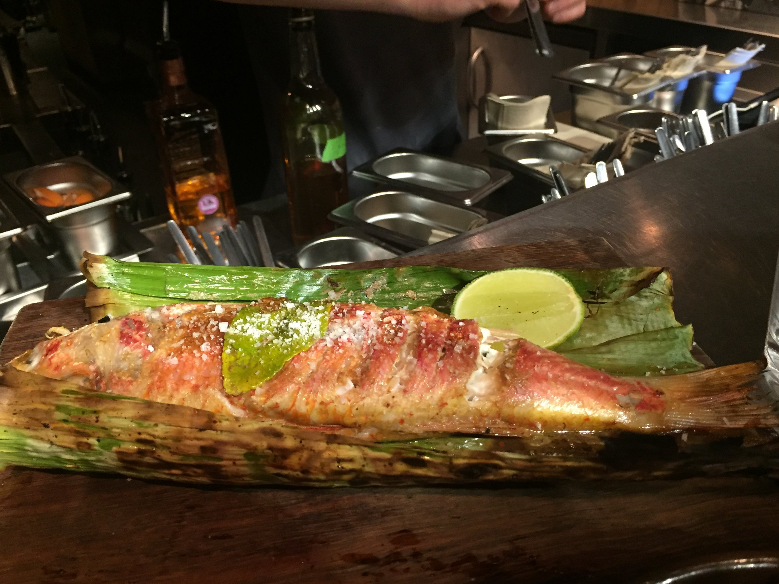 Slow grilled red mullet