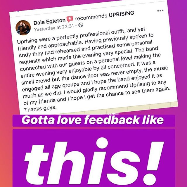 When you can get feedback like this you know your doing something right!  #rockband #weddingmusic #uprising #norwichmusiccityuk #norwichmusic #coverband