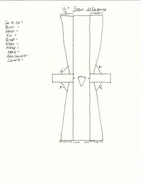 Layout for the basic Caftan pattern