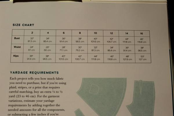 Size chart from Gertie Sews