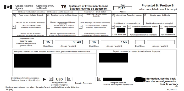 Example T5 slip showing the effect of US withholding taxes on dividends