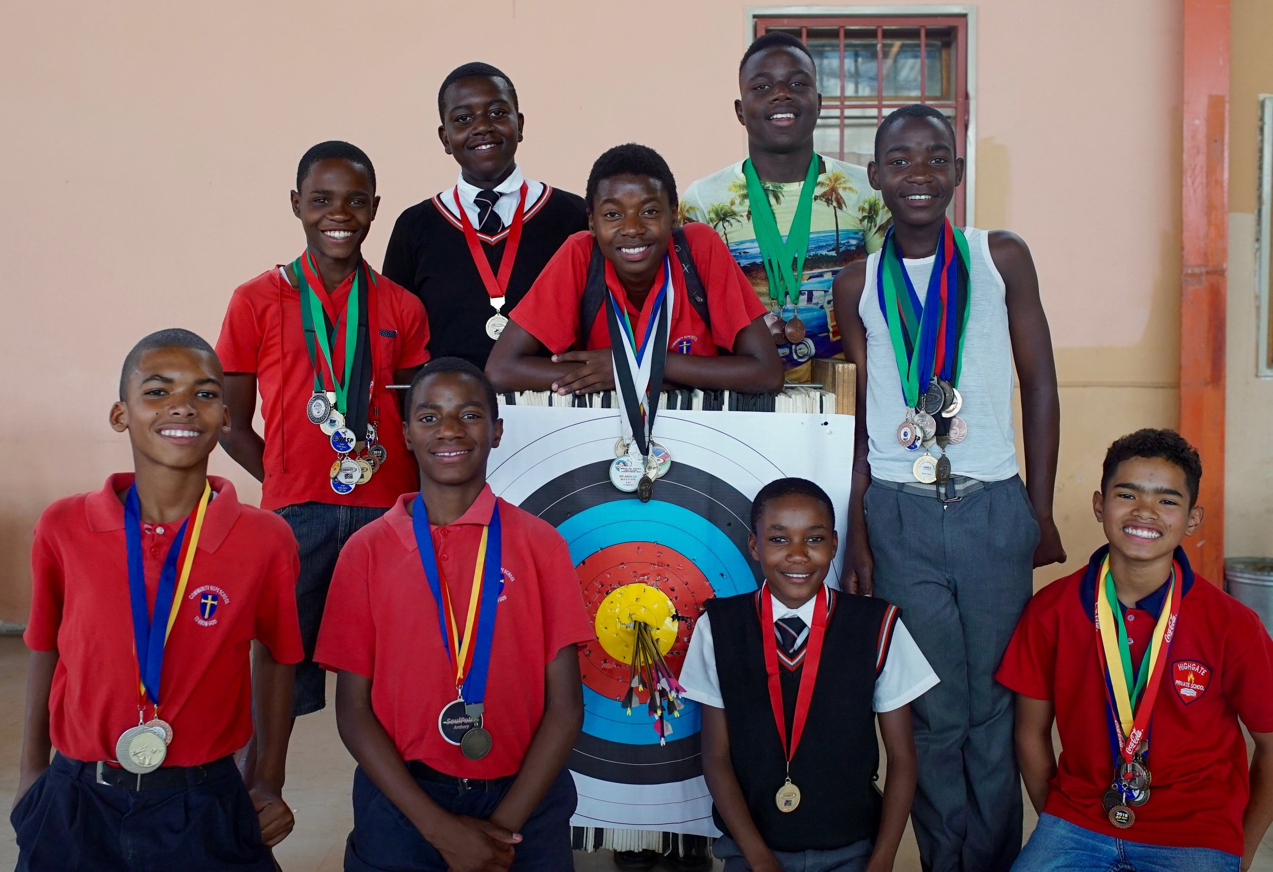 HITTING THE MARK! - Our Archery Programm has been running for 3 years and each year archers from CHS qualify to represent Namibia at the All Stars Tournament hosted by one of the four NASP countries in Africa (Botswana, Namibia, South Africa & Zimbabwe). This year (2019), we had six (6) boys qualify for the tournament hosted by South Africa, three (3) in the National team and the other three (3) in the development team. The boys did extremely well. Delron Gaoseb got a Gold medal in the 3D category and Bronze overall. Namibia will host the 2020 All Stars Tournament in the coastal town of Swakopmund.