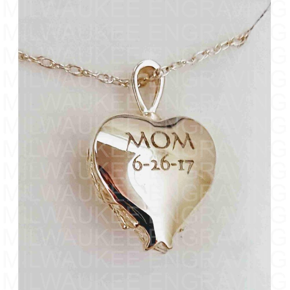 pendant, engraved necklace, locket, jewelry, gifts, custom engraving, milwaukee