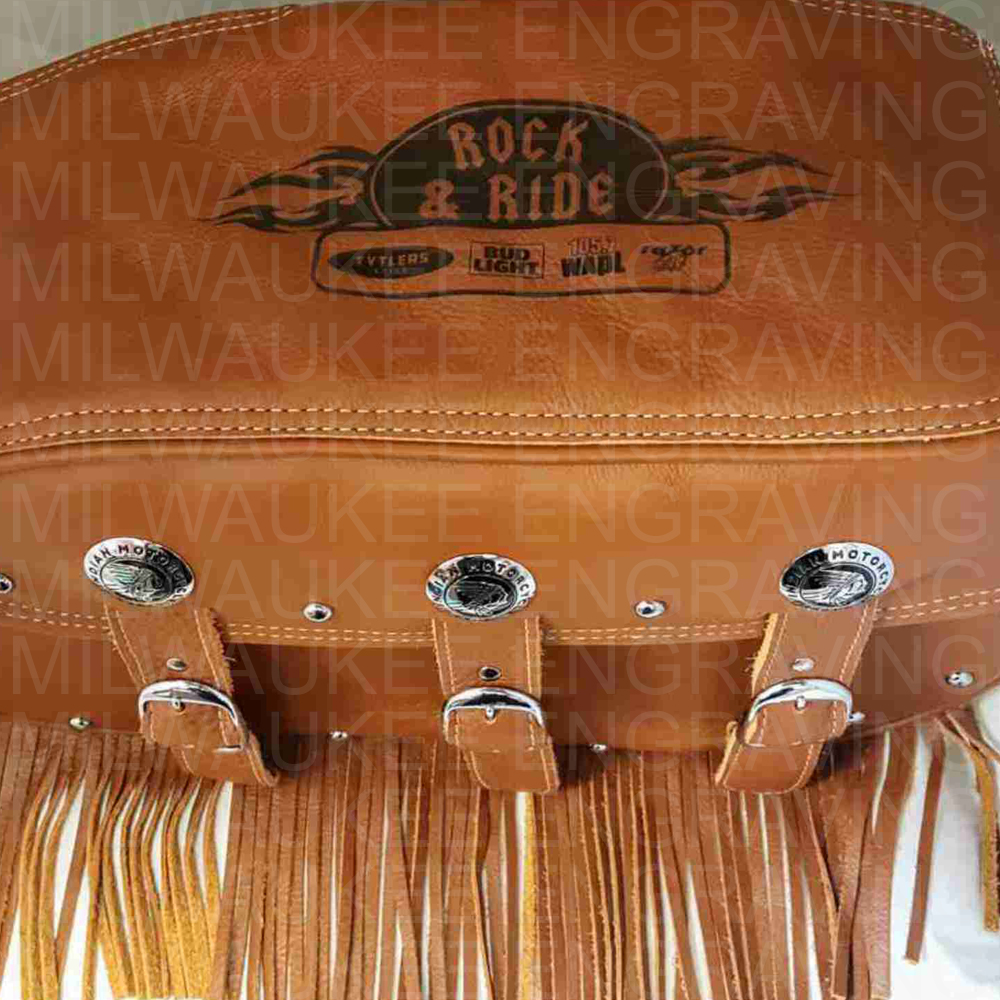 motorcycle bag, satchel bag engraved, custom engraving, engraver, milwaukee, leather engraving