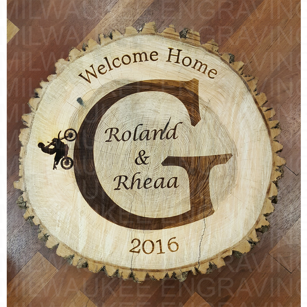 laser engrave, tree stump, custom, personal items, engraver, milwaukee, wedding gifts, engraved gift