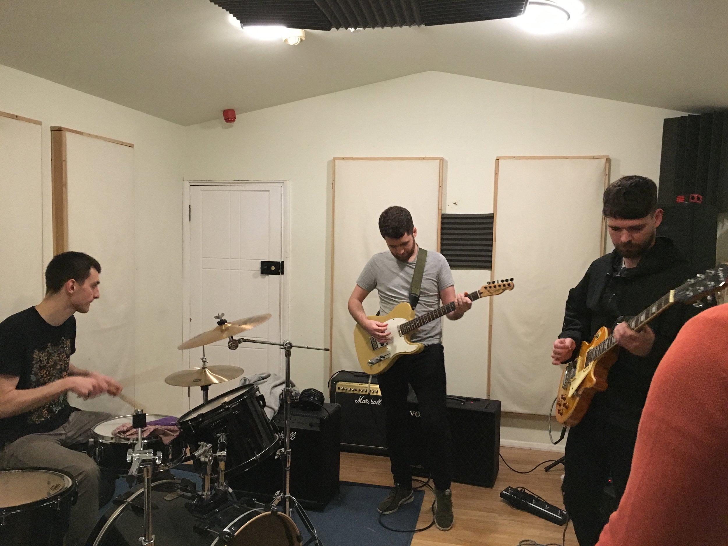 Matt Ruminski and friends enjoying the studio quality acoustics of our Live Room