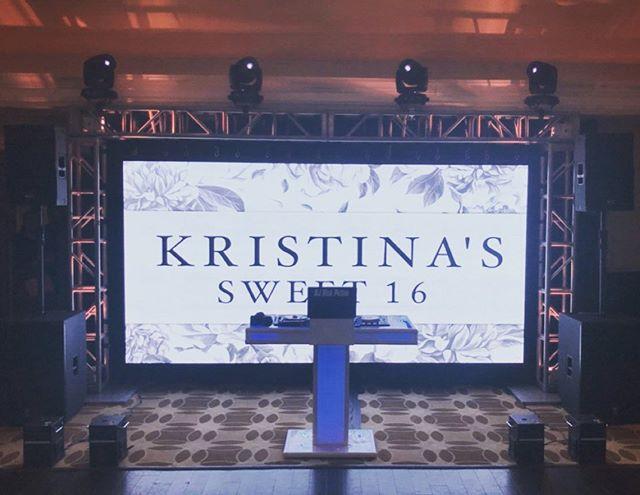 Kristina's White party Sweet 16 VideoWall setup! 15x8 screen displays custom graphics, music videos, live video, montages and Zap Shots! @e2dj @evpaffairs @richmondcountycountryclub @nickpetino @alexe2dj @mikemandano
