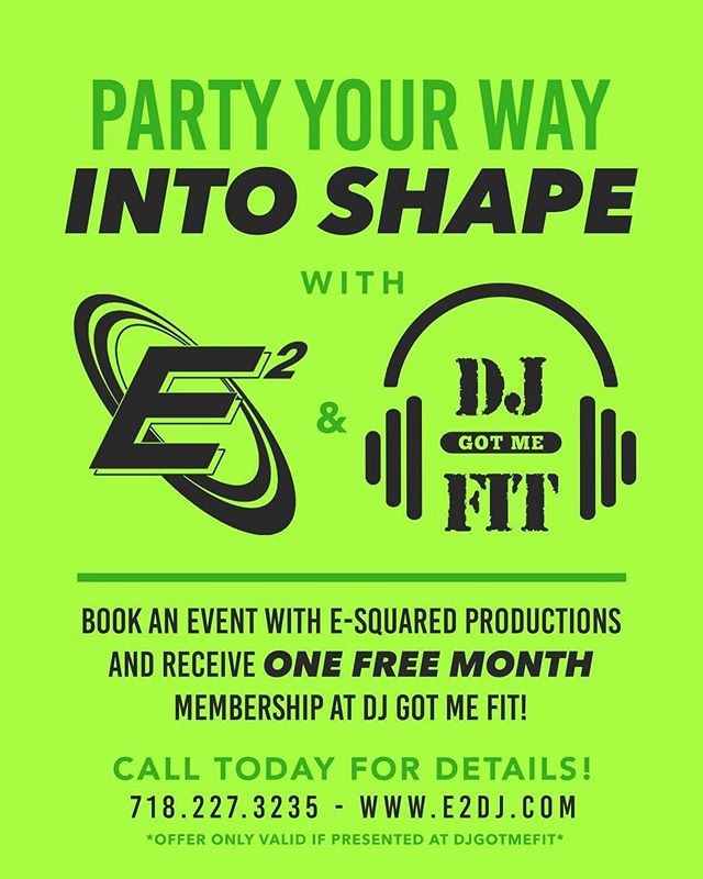 When two business collide!!!! @e2dj @djgotmefit for the rest of the summer, stop in and book an affair with E2DJ and receive one month free of class workouts at DJ Got Me Fit! #e2dj #fitness #entertainment #workout #djgotmefit #party #fun #partyforyourbody