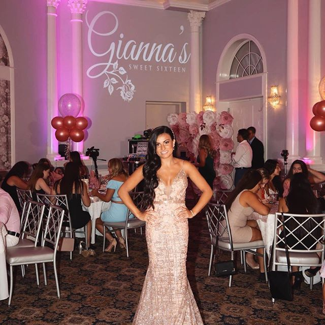 Gianna's Sweet 16 • Featured in these photos: E2 Custom Projector displayed on the wall - Our DJ Setup with matching Screen Graphics 🌸👌