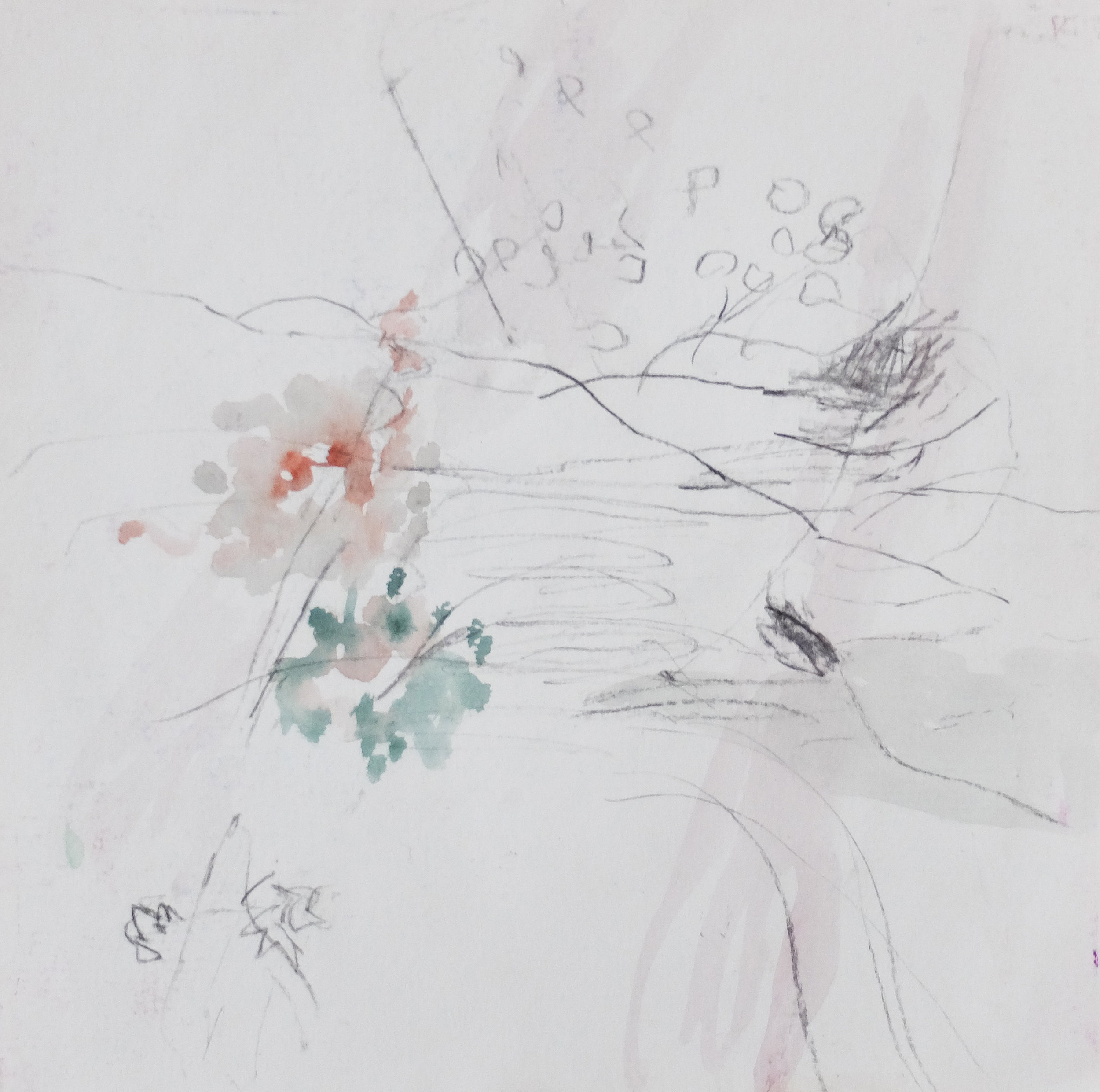 Untitled 8, 2015, Water colour, pencil on paper, 20 x 20 cm