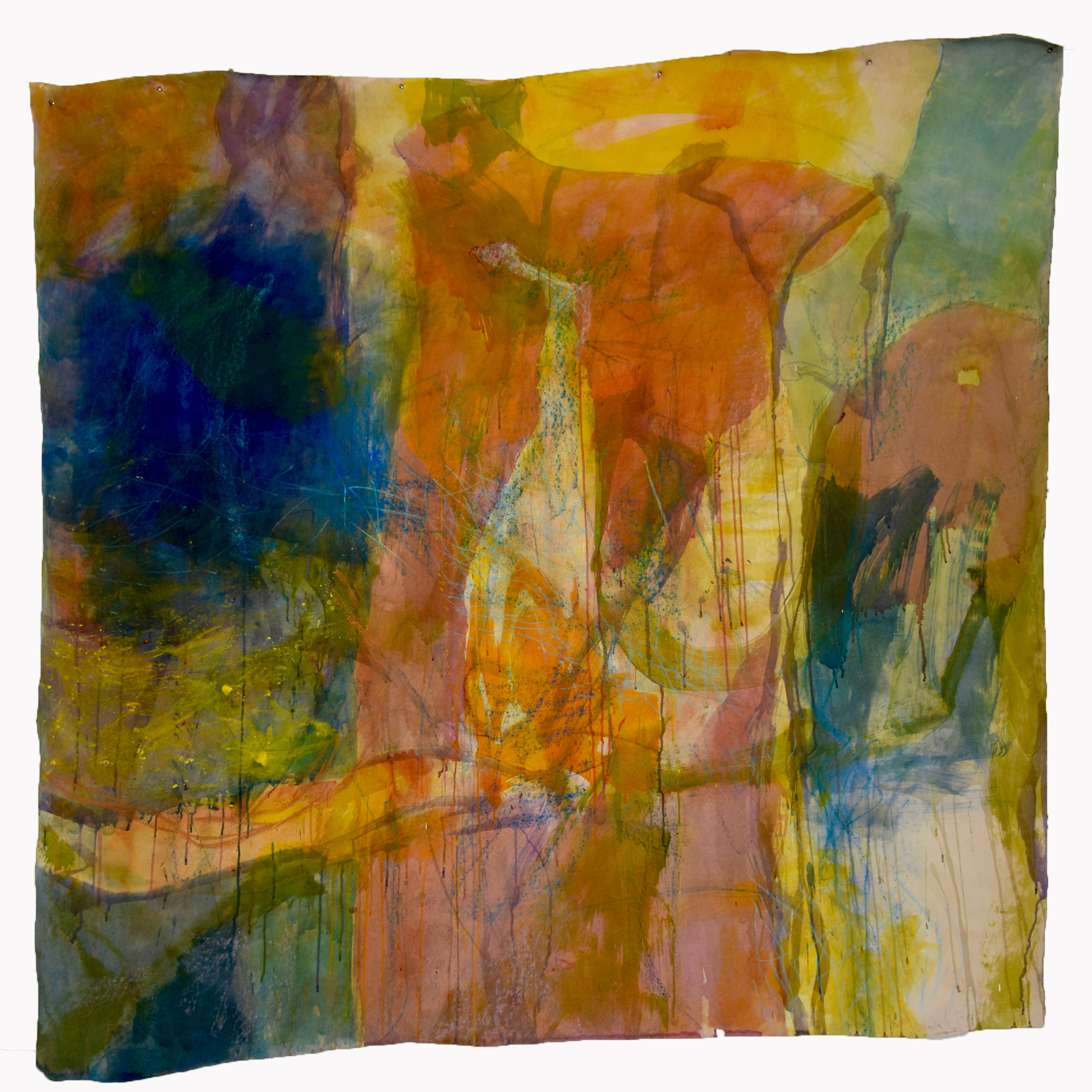 Untitled 16, 2000, Acrylic, oil pastel, soft pastel on canvas, 190 x 195 cm, Detmold, Germany