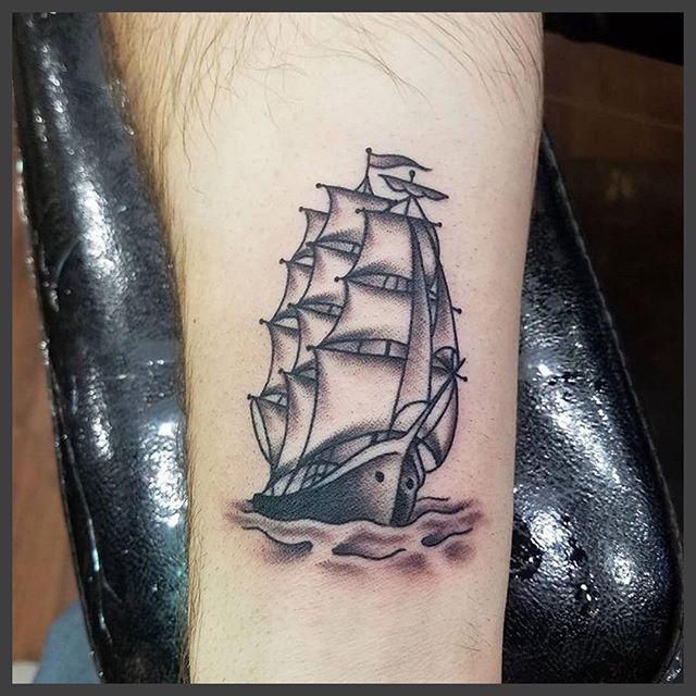 Ship tattoo done by Dustin Barnes @tattoosmakeyoutough appointments and inquires stop by or contact us, we are open 7 days a week!!.#360.755.1391 Email: triumphtattoo6@gmail.com #burlingtonwa #pnw #whidbeyisland #tattoo #tattoos #blacktattoo #sedrowoolley #sedro #oakharbor #vancouverbc #theoriginaltriumphtattoo #nobaddays #triumphtattoo