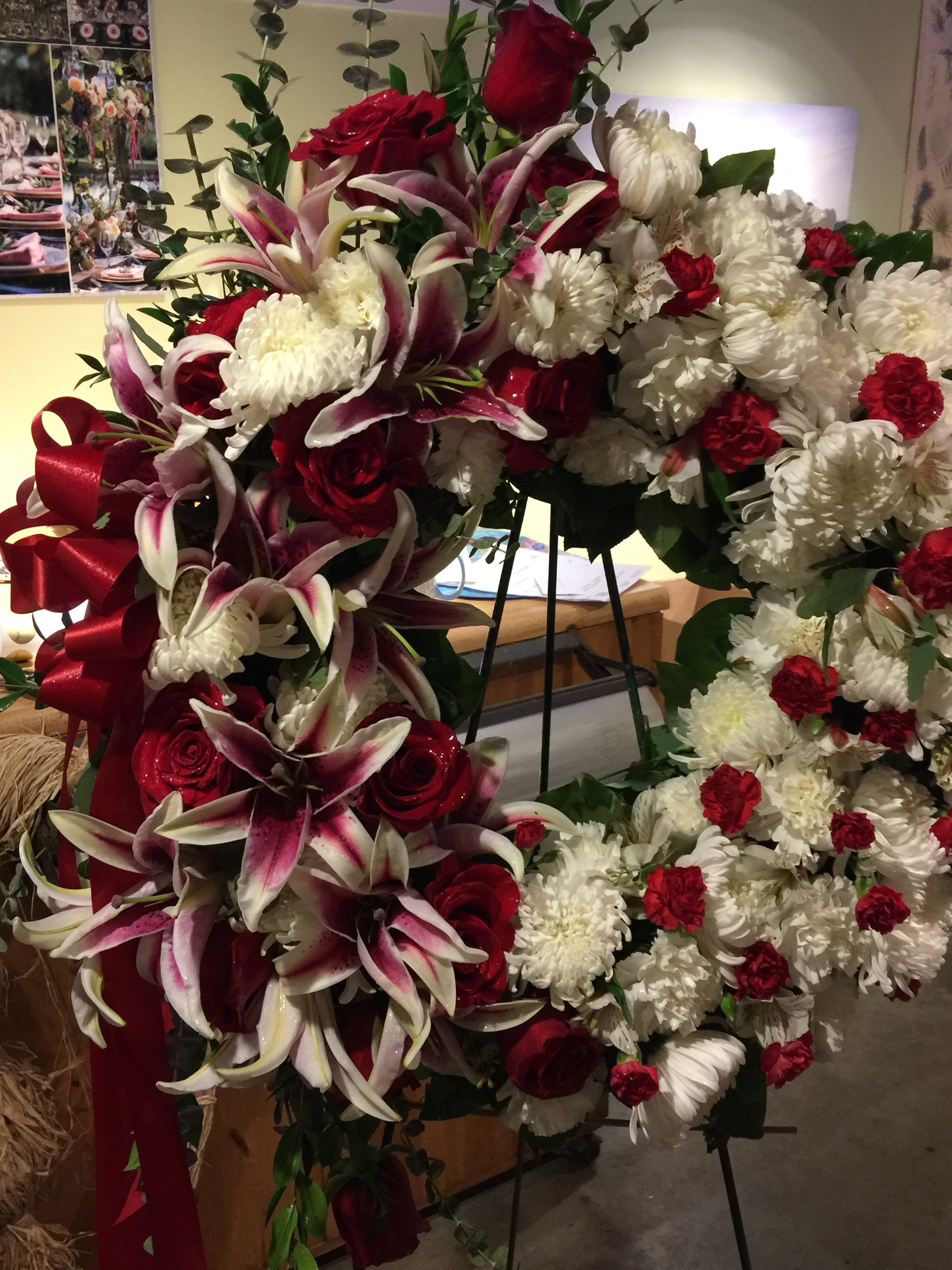 Red Roses + Lilies Standing Wreath