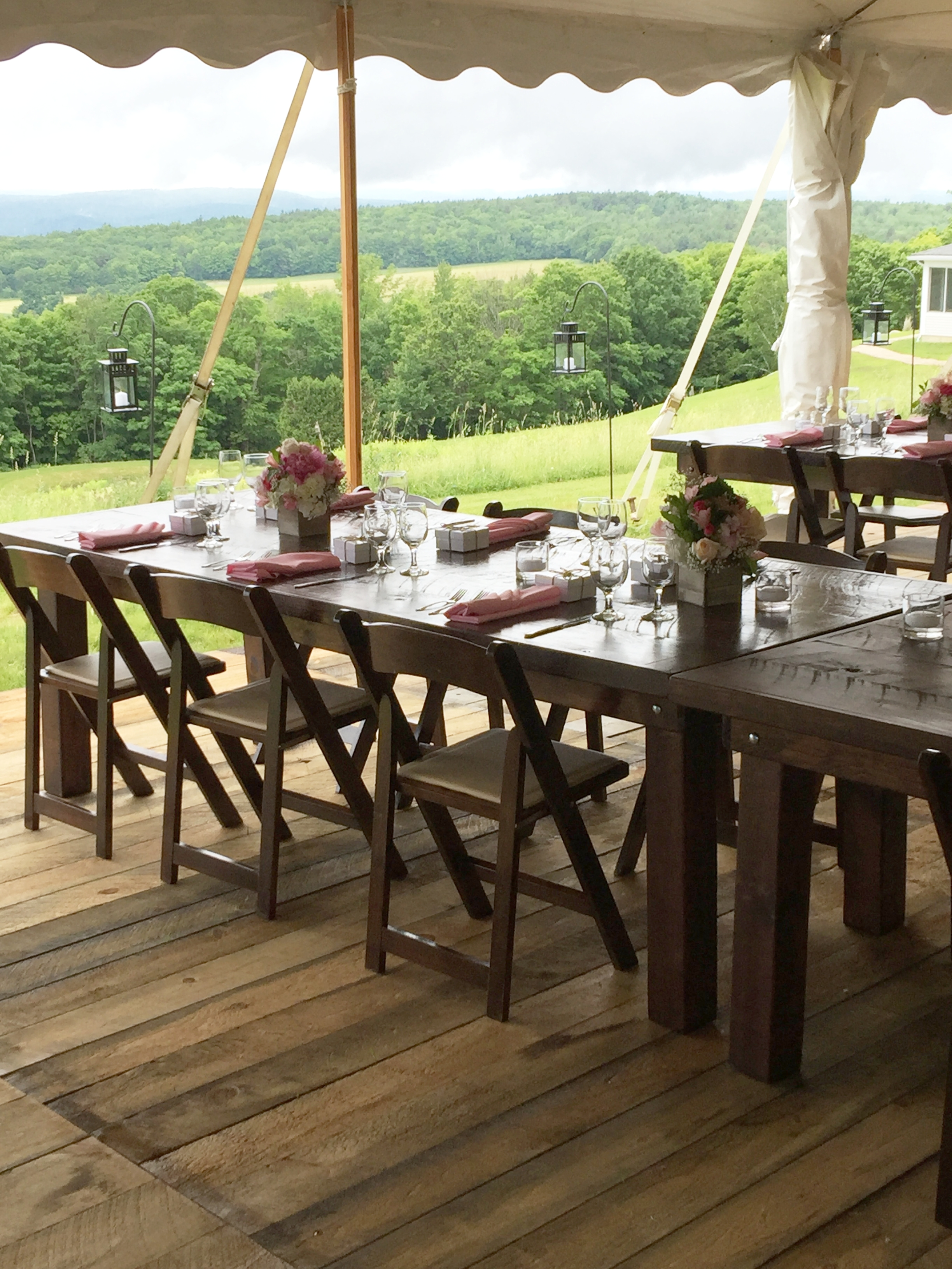 tented wedding barn floor farm tables