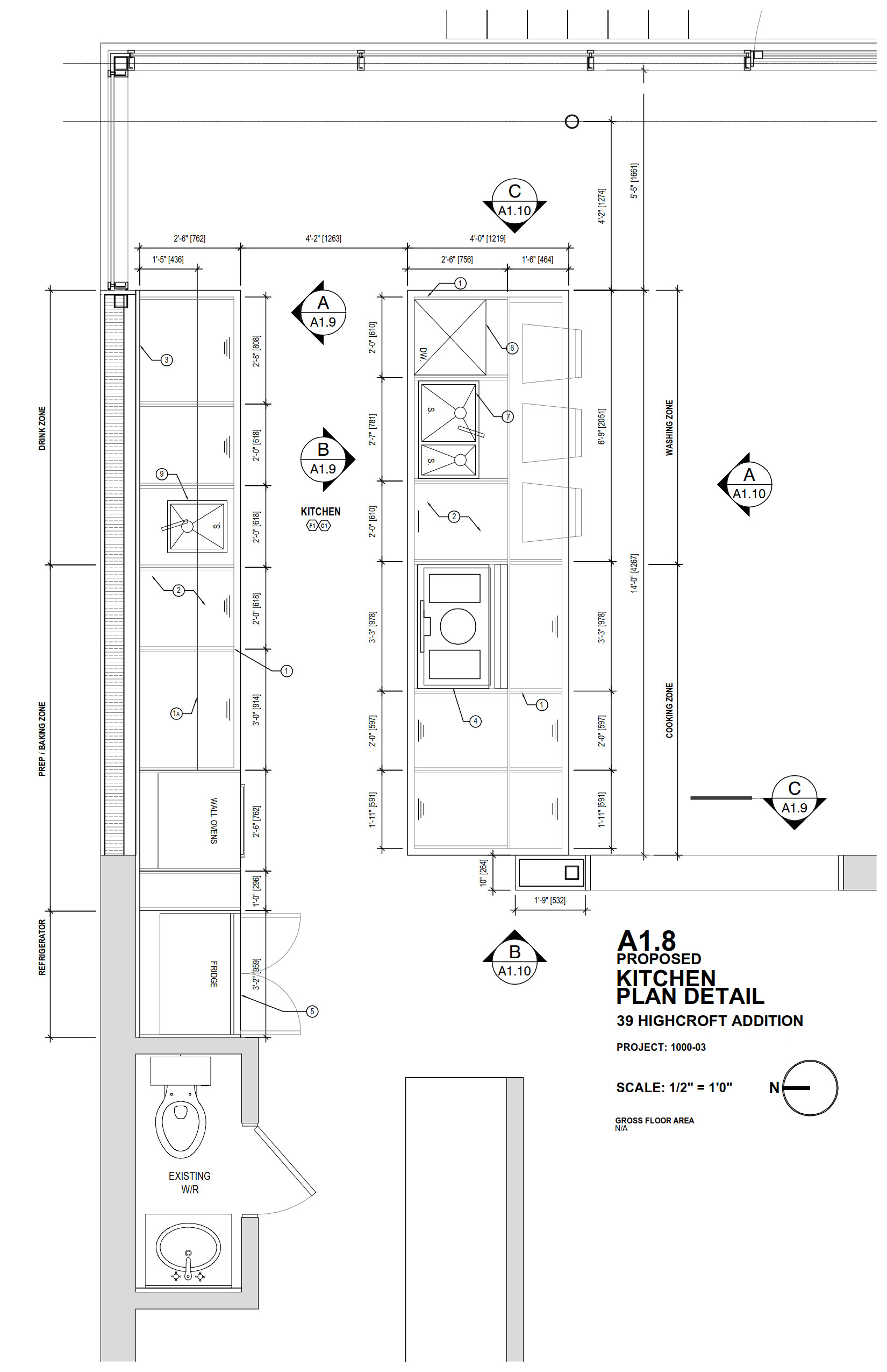 Drawing, Plan, Kitchen