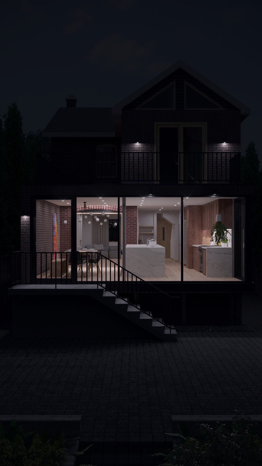 Render, Exterior, Night