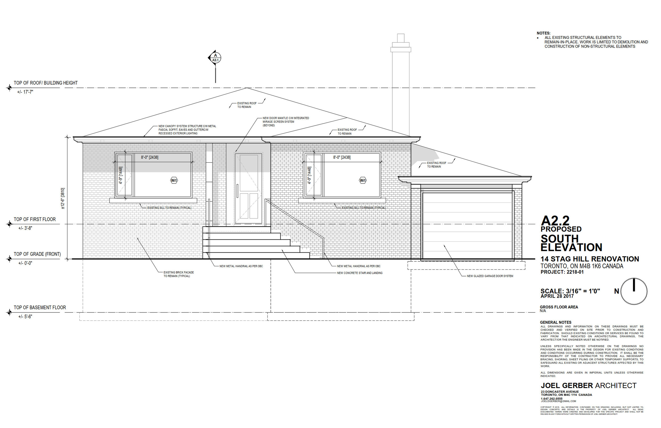 Drawing, South Elevation