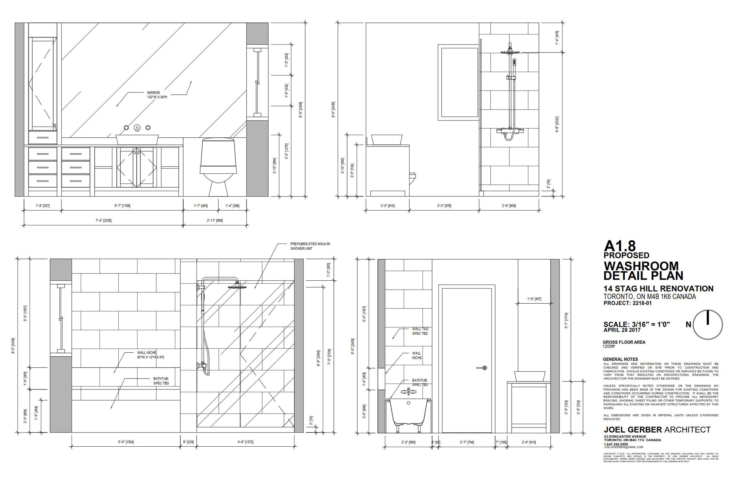 Drawing, Washroom Details