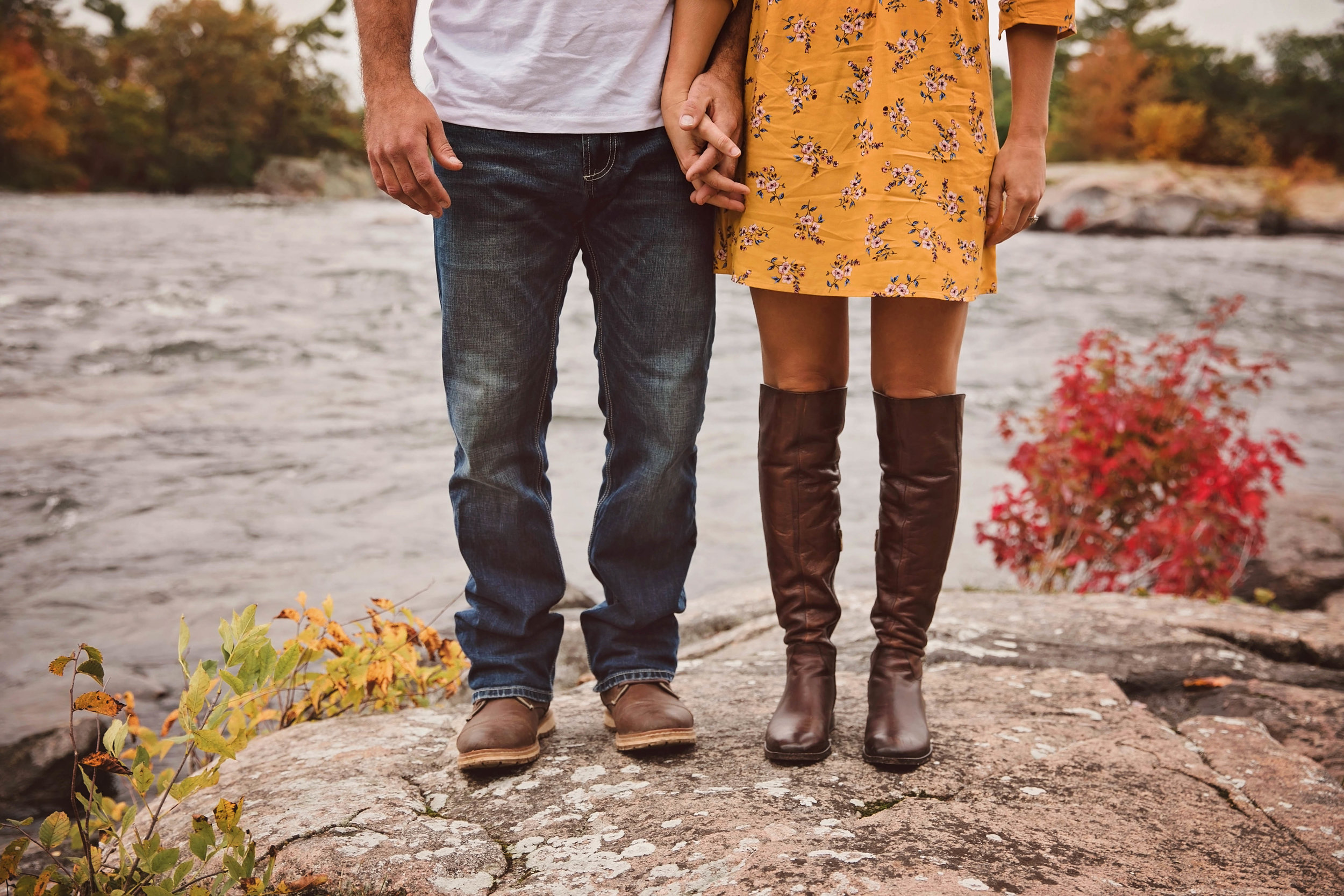 Morgan Bress Photography | Lindsay Wedding Photographer | Engagement Session with Dog | Kawartha Lakes Wedding Photographer | Ontario Wedding Photographer |  Burleigh Falls, Ontario | Bigleys Shoes | Waterfall Engagement