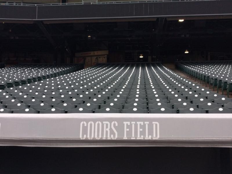 Seats inside Coors Field in Denver, Colorado