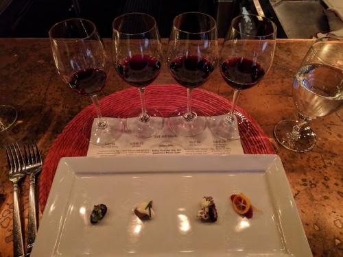 Wine flight and pairing bites at Rioja Denver