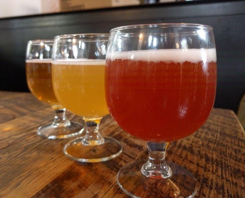 Three beer tastes at Great Divide Brewing in Denver