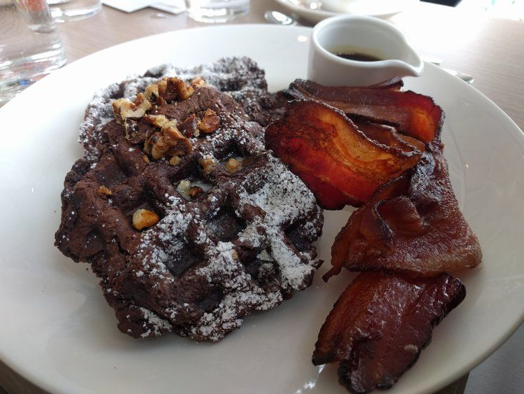 Chocolate waffle and bacon at the Bindery in Denver Colorado