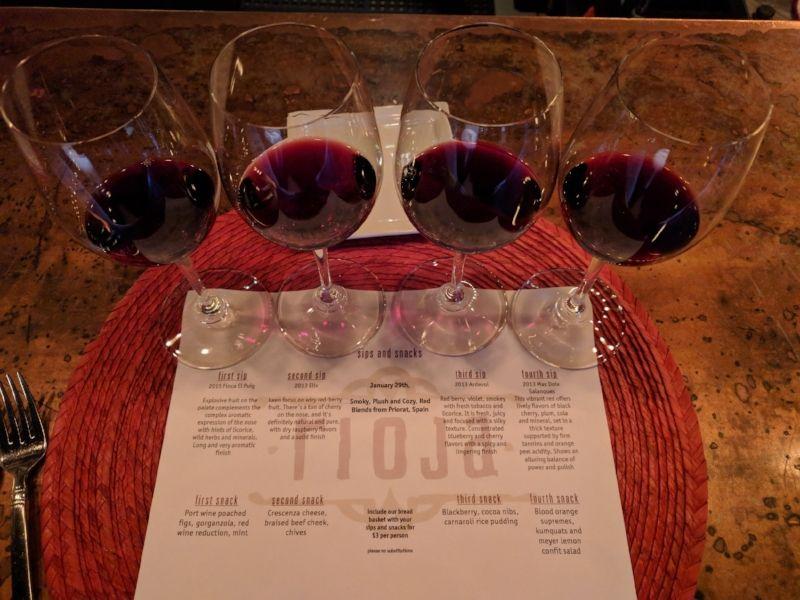 Wine flight at Rioja Denver