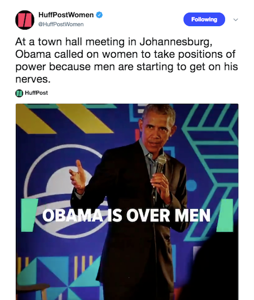 Obama is over men.