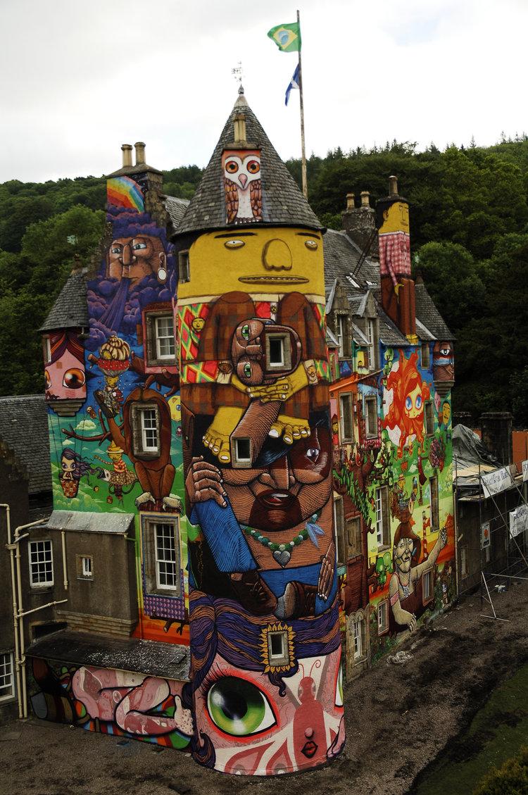 In 2007, OSGEMEOS painted this mural on Scotland's Kelburn Castle.