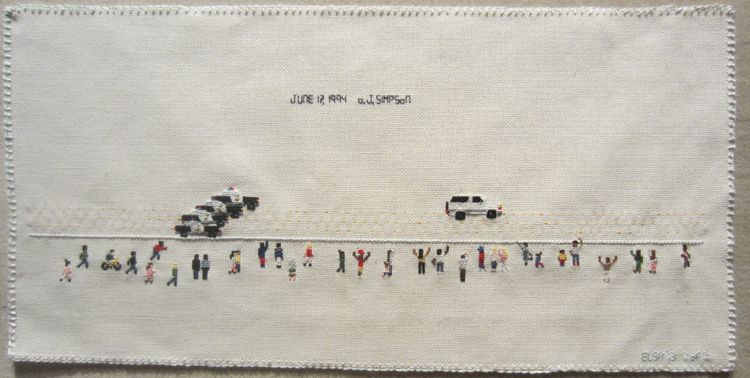 Elsa's cross-stitched depiction of the June 12, 1994 highway pursuit of O.J. Simpson.
