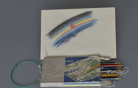 Photo of Leonov's first eyewitness space sketch. Image credit:   The Guardian  .