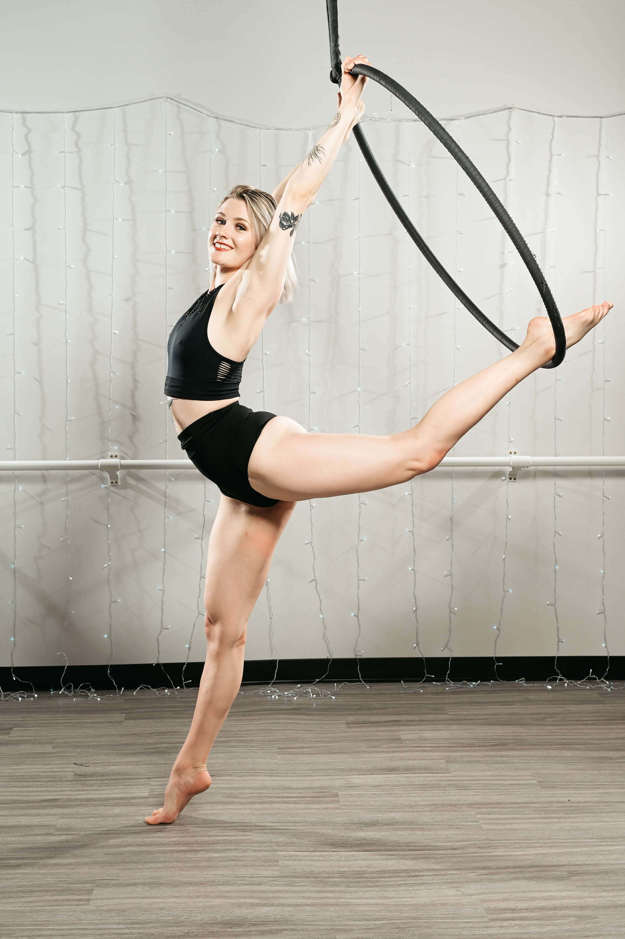 INTERMEDIATE AERIAL HOOP FUNDAMENTALS - Intermediate Aerial Hoop Fundamentals focuses on building upon basic poses & transitions as well as introducing new movements. In this session you will be exposed to the fluidity that the discipline allows for.Next Step: Repeat current level until you feel comfortable moving on. We encourage you to begin taking Aerial Hoop companion classes at this time to expand your aerial hoop skills. When you feel comfortable moving on, the next step would be Pre-Advance Aerial Hoop.