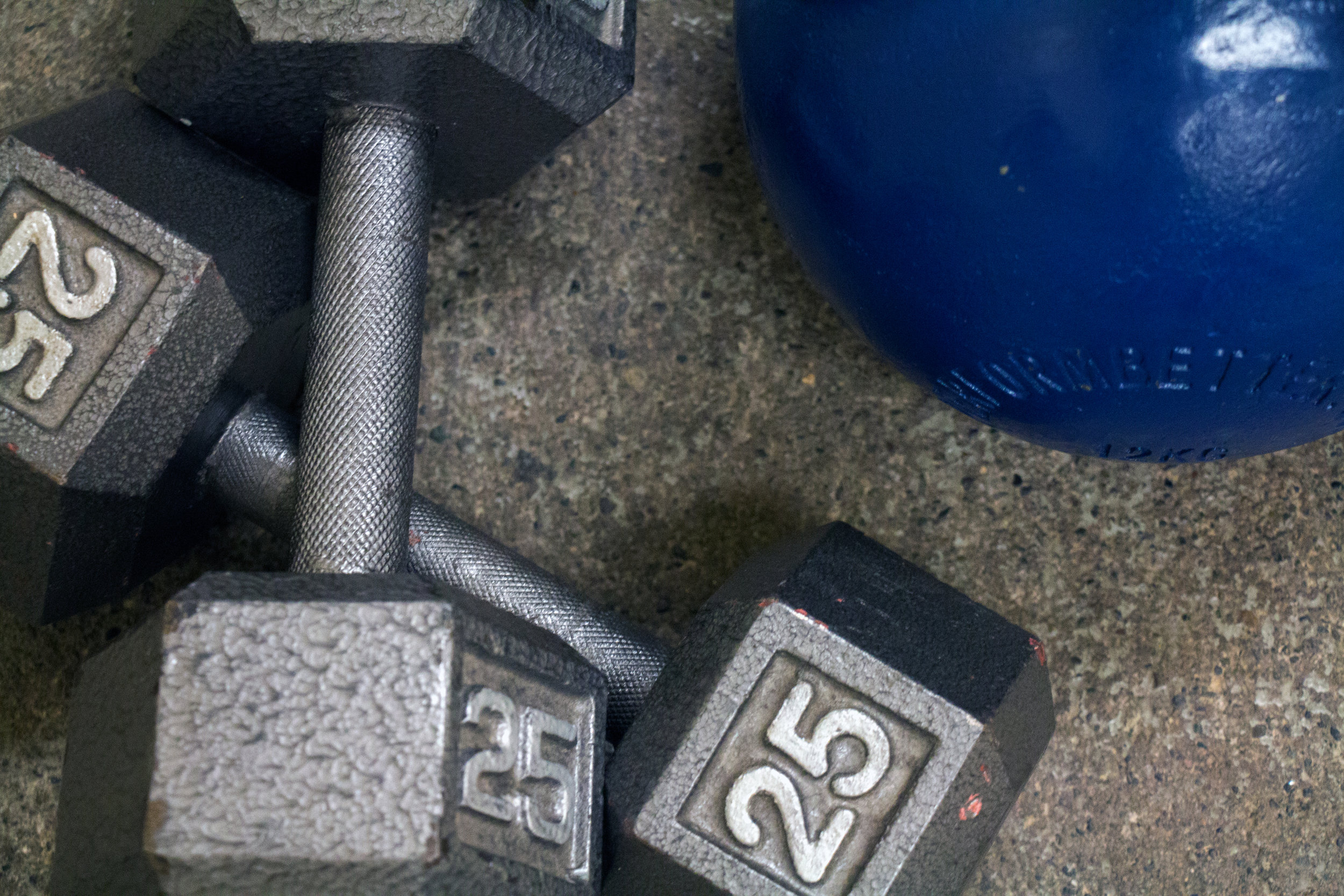 Iron barbells and weight ball