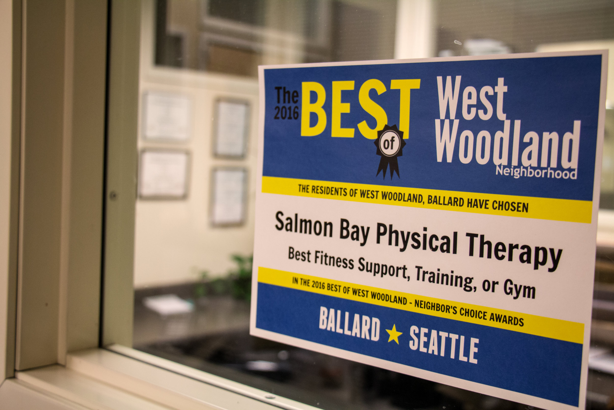 Award sign inside Seattle office