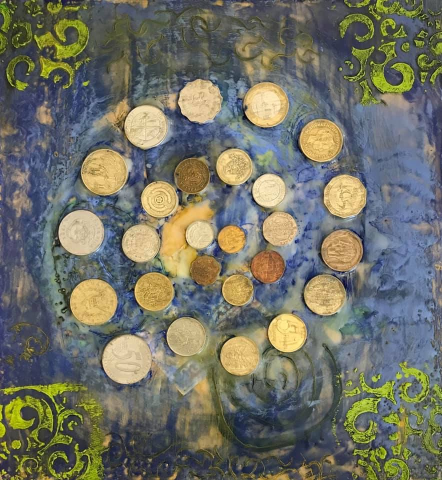 encaustic piece with foreign coins