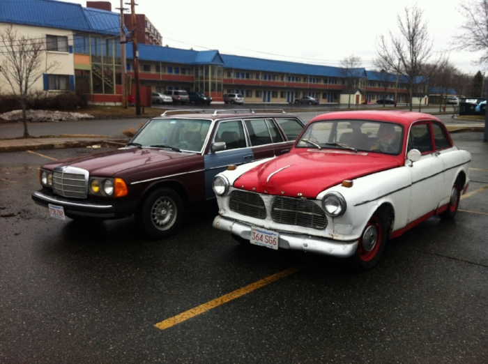 Alfred Mira's 1966 Volvo 122 S, and his son Christopher's 1981 Mercedes 300 TD