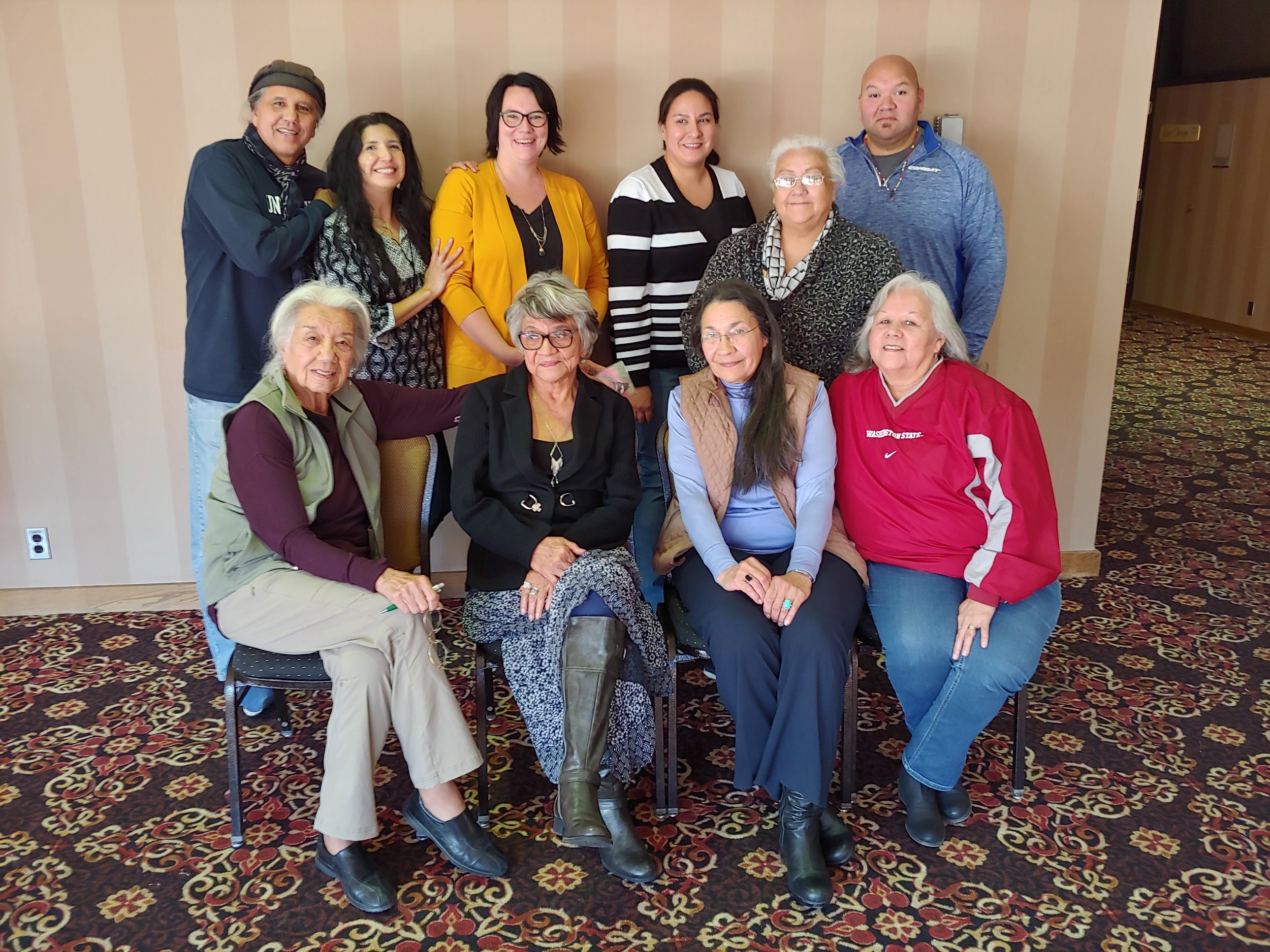Reorganizing business meeting of the Oak Lake Writers Society in Pierre, SD, on October 20, 2018. Members in attendance (left to right, back row) Edward Valandra, Mabel Picotte (OLWS Chair), Tasiyagnunpa (Livermont) Barondeau (OLWS Sec/Treas), Sarah Hernandez (OLWS Director), Deanna Stands, Ross DuBray, (left to right, front row) Elizabeth Cook-Lynn, Lydia Whirlwind Soldier, Lanniko Lee, Patty Bordeaux Nelson. Present via phone Tate Walker (unpictured).